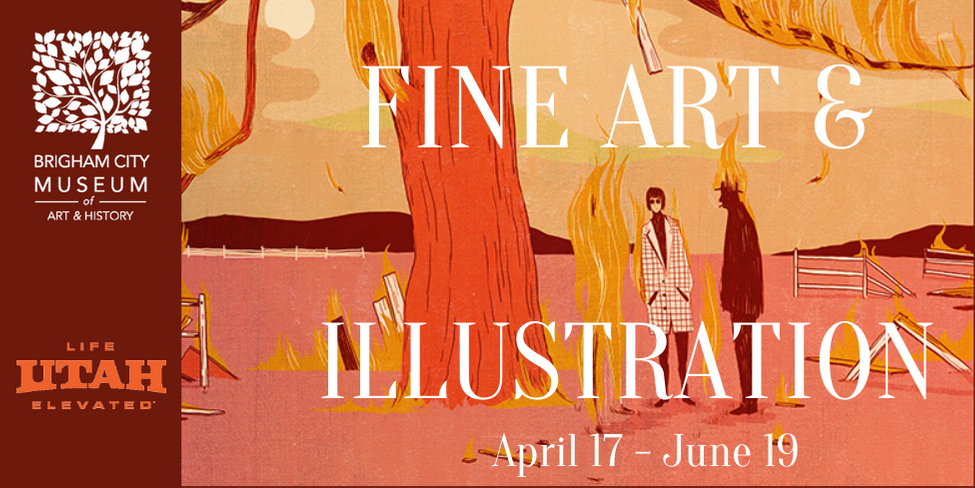 """The words """"Fine Art and Illustration April 17 to June 19"""" are in white and sit atop a section of Michael Hirshon's """"This is Fine"""", which depicts two figures, one dressed in a white coat and the other"""
